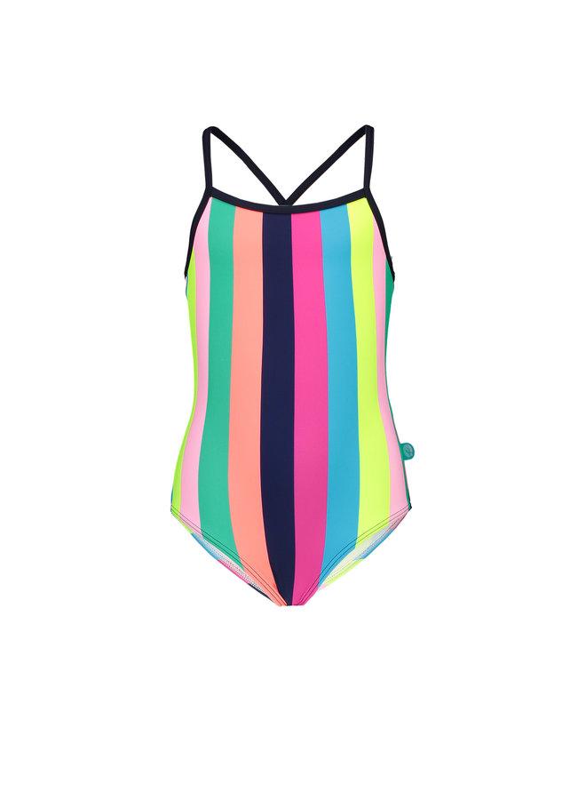 Girls tropical stripes ao swimsuit - Tropical stripes