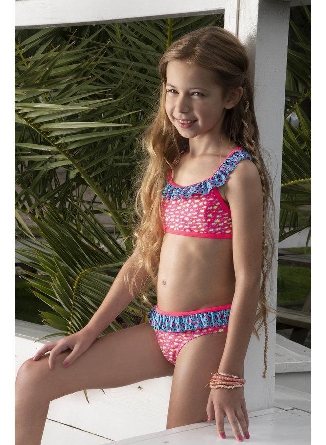 Girls ibiza leo ao bikini with ruffle at top - Leo pink