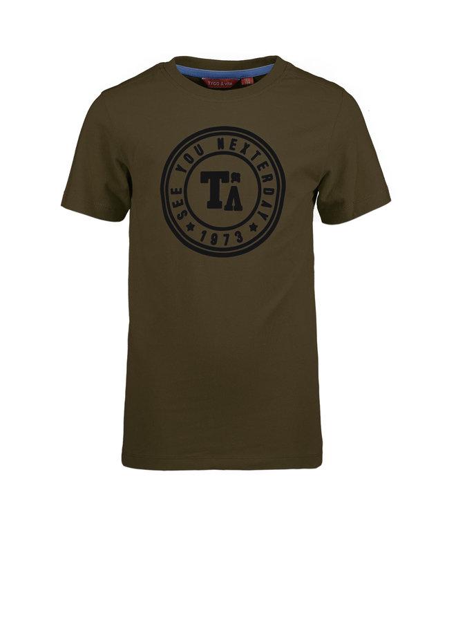 T&V T-shirt round logo print - army