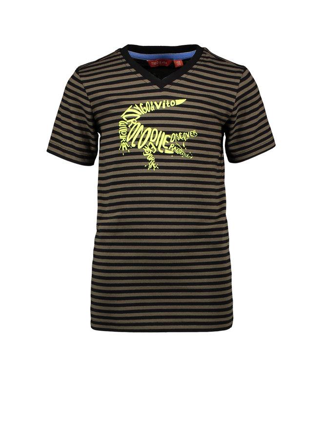 T&V T-shirt y/d stripe CROCODILE - army