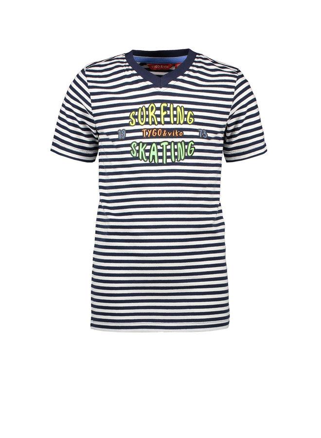 T&V T-shirt y/d stripe SURFING/SKATING - navy