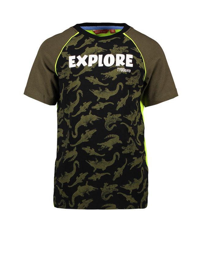 T&V raglan T-shirt AO CORODILE EXPLORE - army