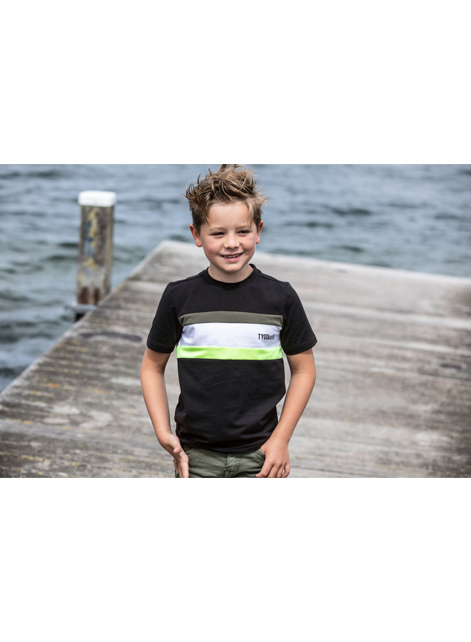 T&V T-shirt colourblock SMALL LOGO - black