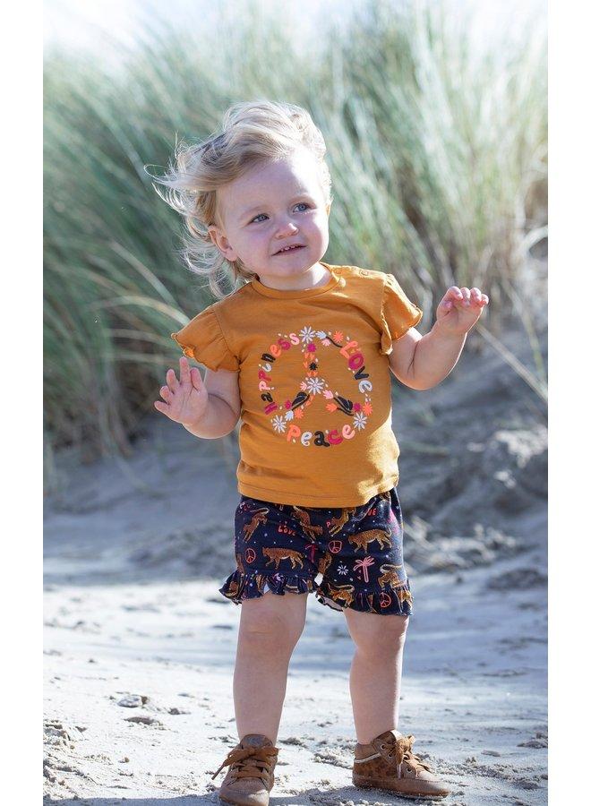 T-shirt Peace - Whoopsie Daisy - Okergeel