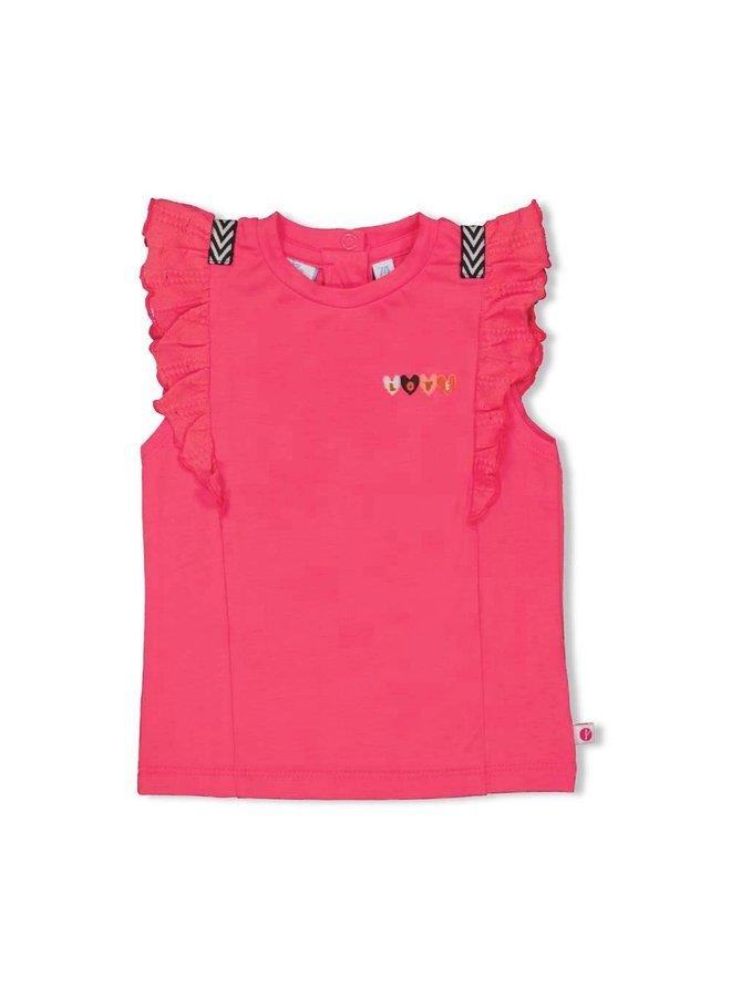 T-shirt rusches - Whoopsie Daisy - Fuchsia