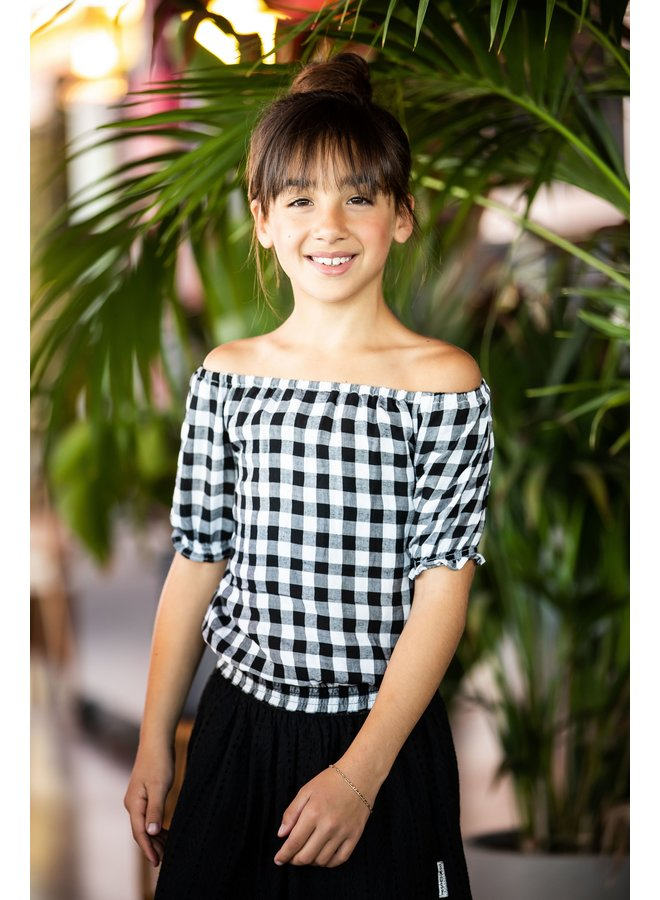 Girls check woven top with smocked hem - Sunny black /white ao