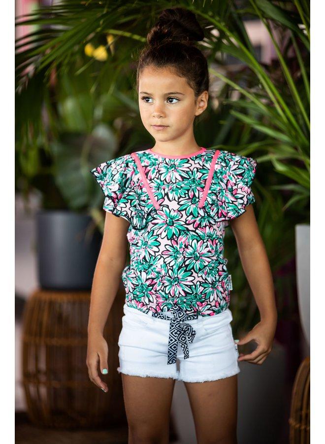Girls sunny ao shirt with big ruffles - Sunny ao