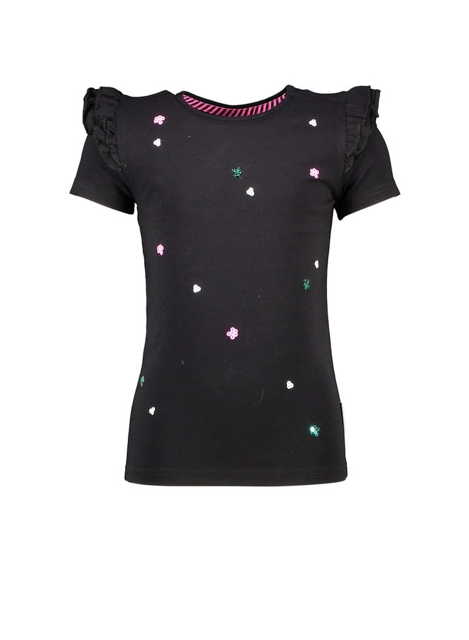 Girls t-shirt with sequincse flowers on body - Black