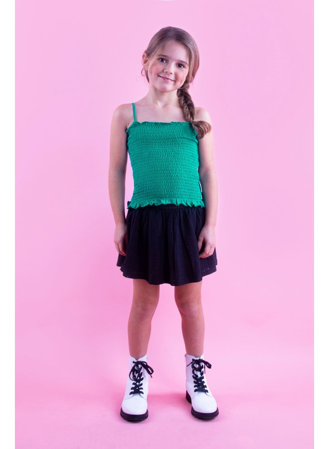 Girls smocked top with adjustable straps - Golf green