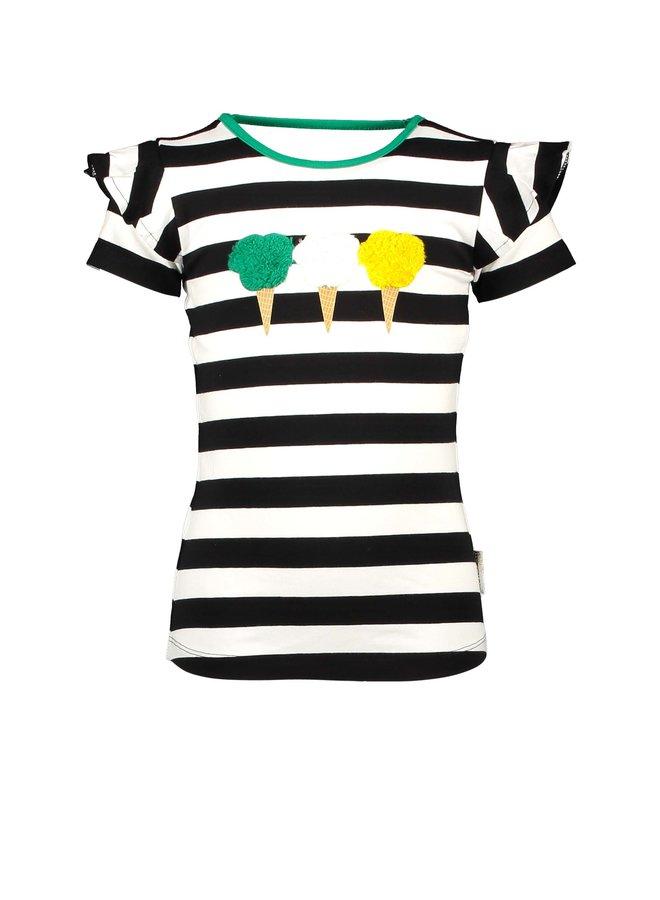 Girls shirt with icecream artwork, open back part - Cheer black/white stripe