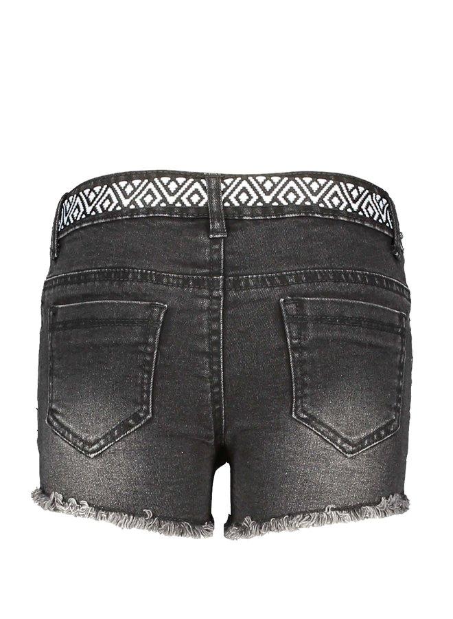 Girls black denim shorty with fancy string - Black