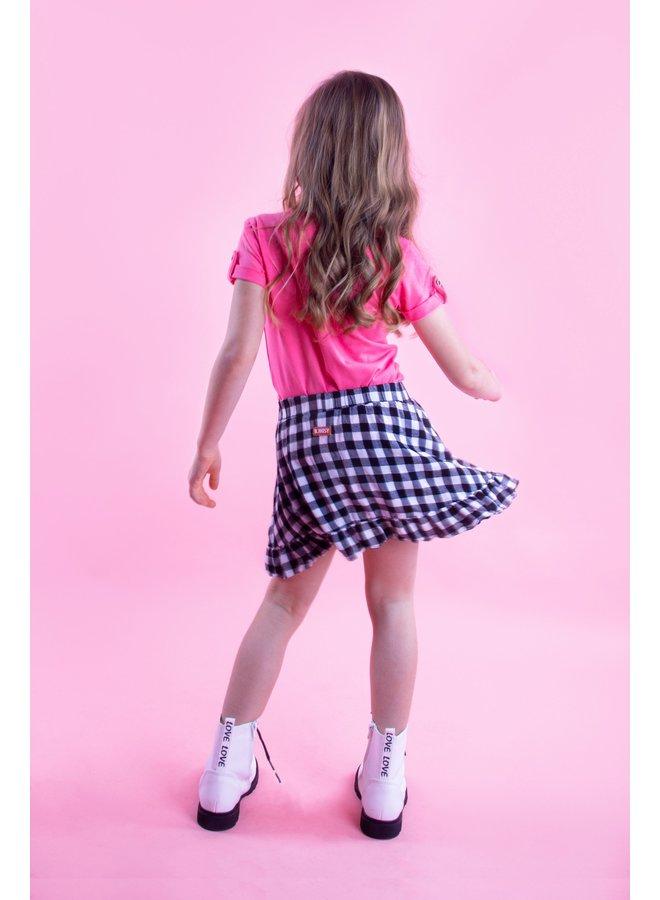 Girls check woven overlay skirt with ruffle - Sunny black /white ao