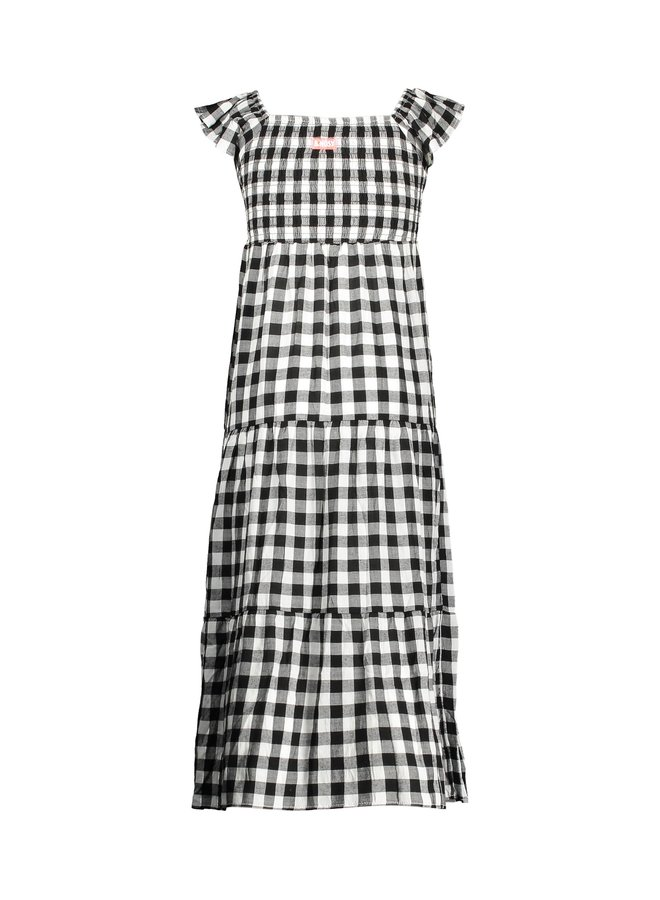 Girls check woven dress with ruffle on shoulders - Sunny black /white ao