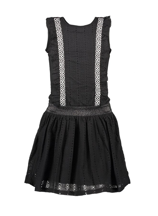 Girls dress with cotton lace ruffle + skirt - Black