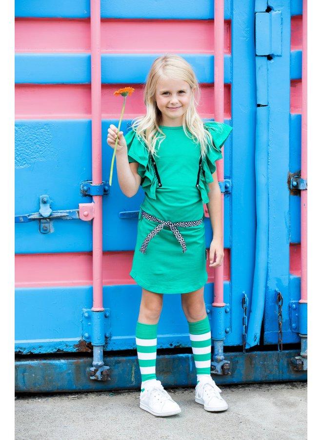 Girls dress with big ruffles on front and fancy belt on waist - Golf green