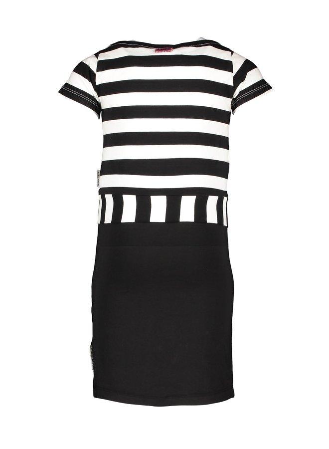 Girls 2 in 1 dress, tanktop dress with knot shirt - Black