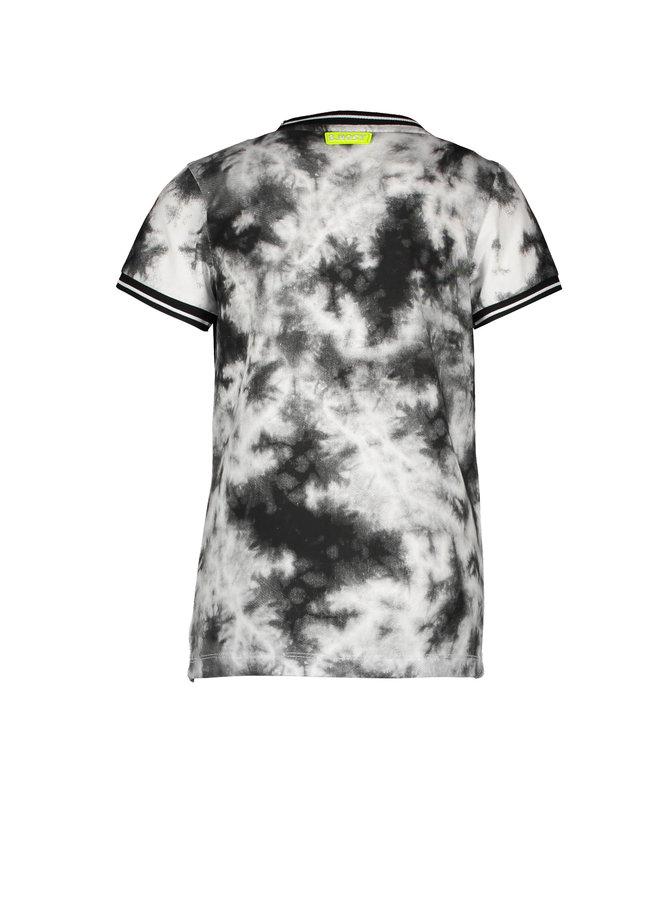 Boys short sleeve tie dye shirt with chest artwork - Tie dye black