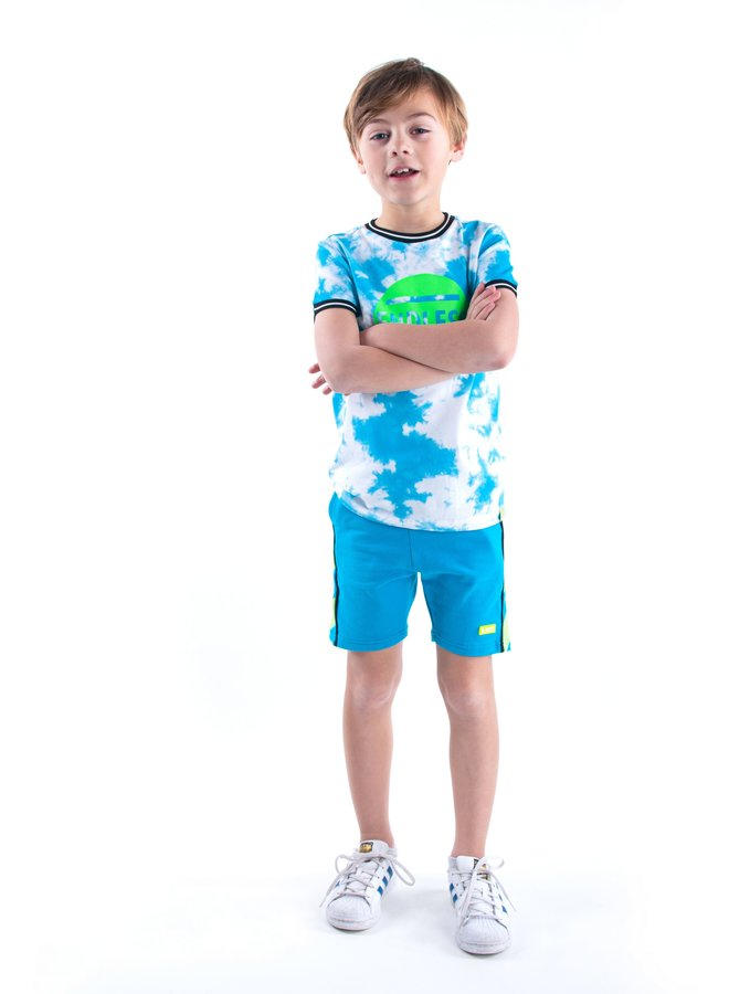 Boys short sleeve tie dye shirt with chest artwork - Tie dye surf blue