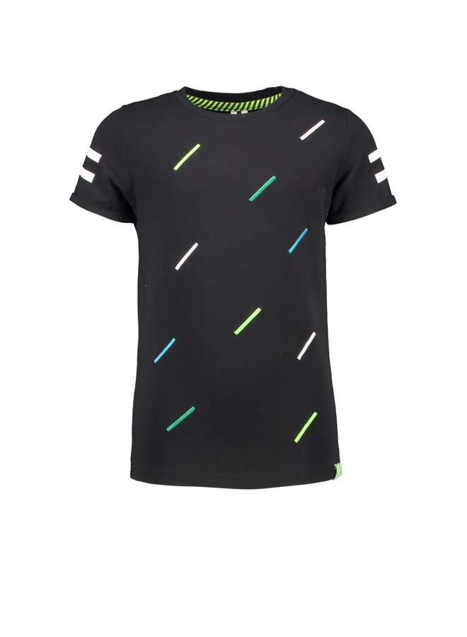 Boys short sleeve with multicolor body stripe print - Black