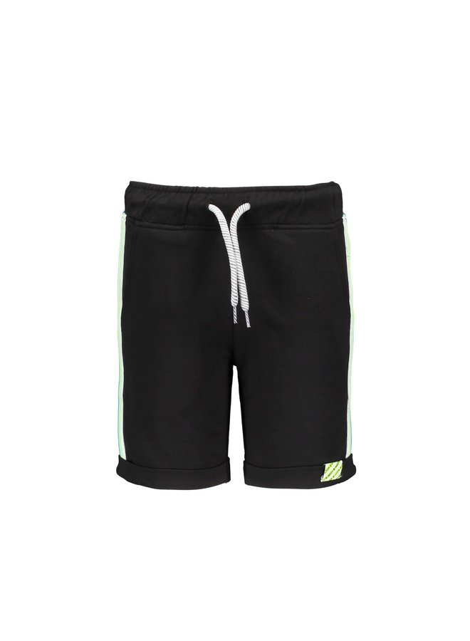 Boys sweat shorts with multicolor rib at hem - Black