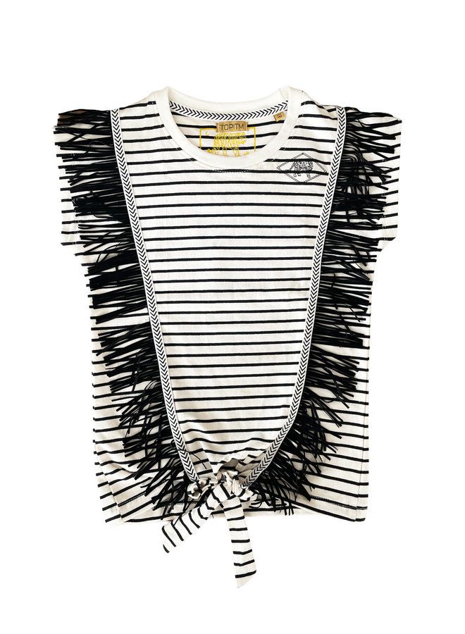 Colette top Fringes - stripe black/ white