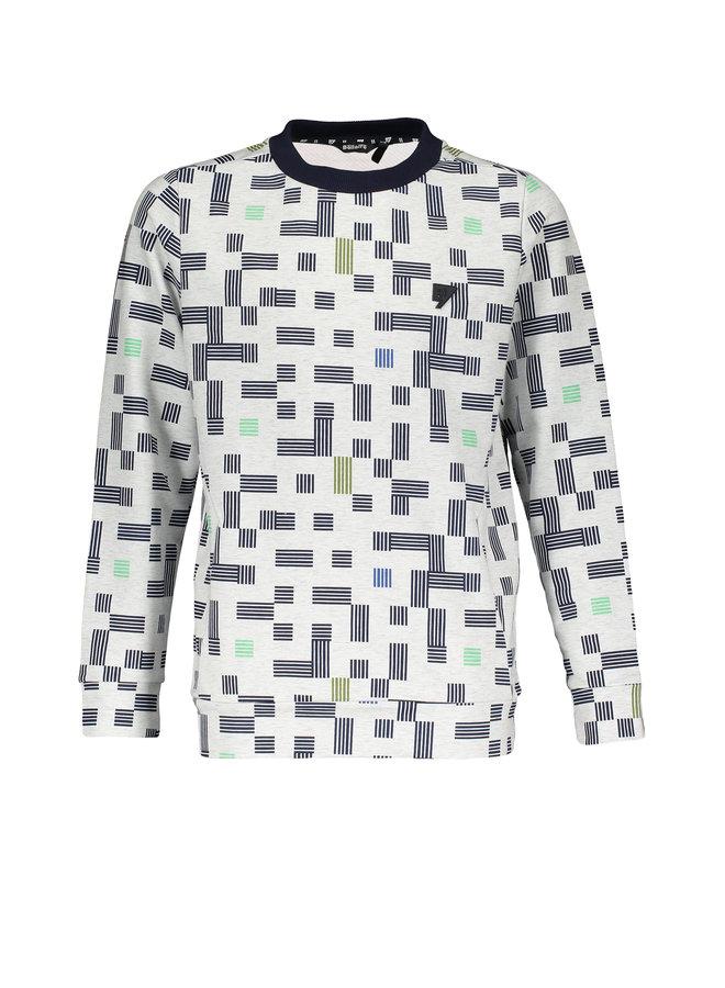 Kone roundneck fancy sweater Aop - Light Grey Melee