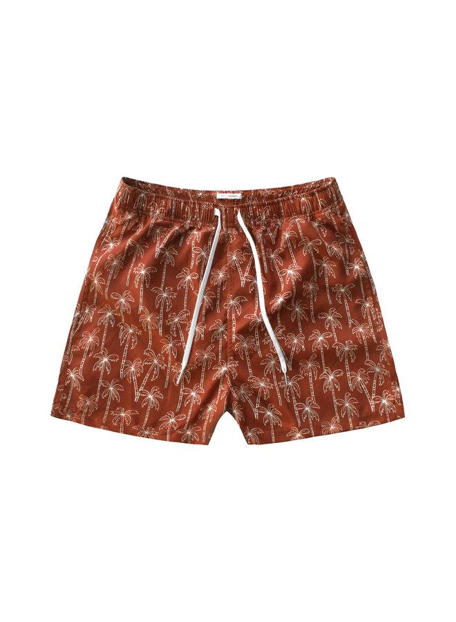 Palmtrees   Swim Shorts Men - Dark Rust