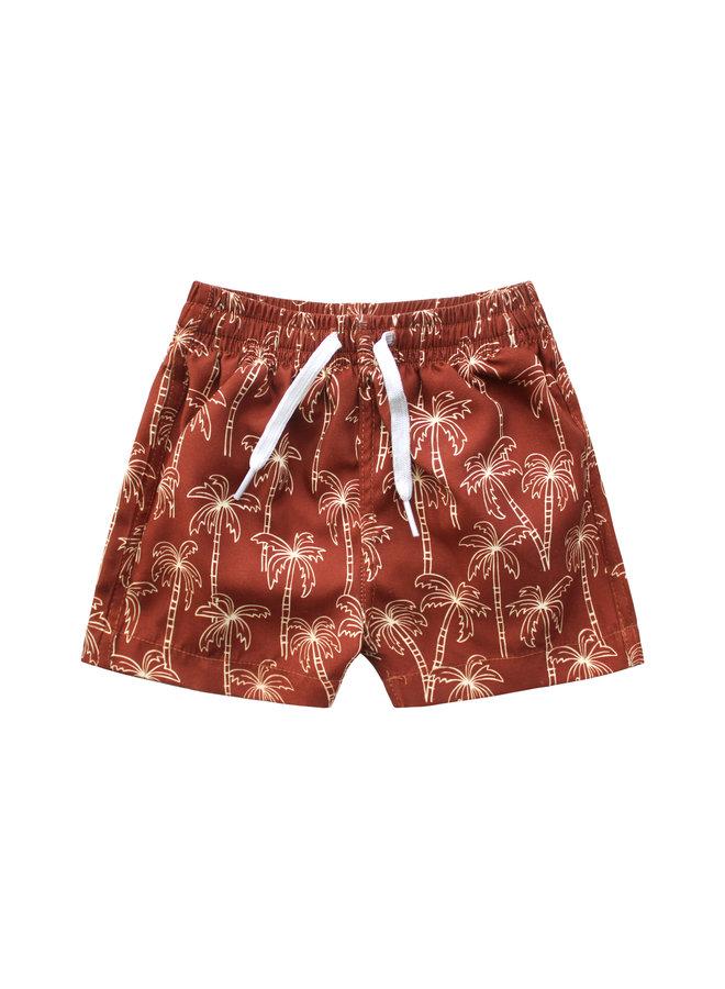Palmtrees   Swim Shorts - Dark Rust