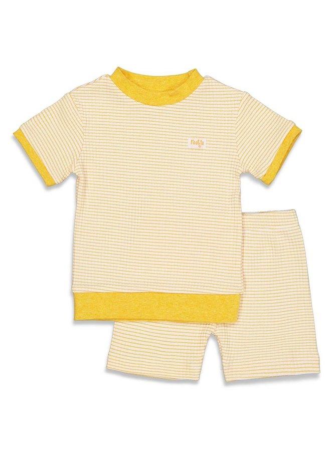 Pyjama kort wafel - Okergeel