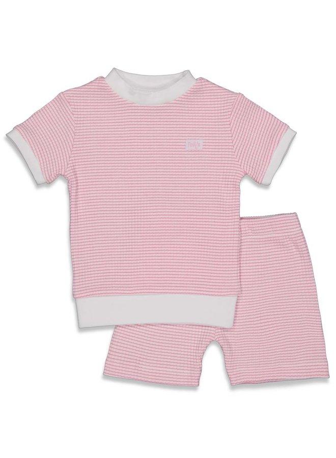 Pyjama kort wafel - Roze