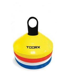 Toorx Fitness Agility Cones Set van 24 stuks - met rek - Geel/Rood/Wit/Blauw
