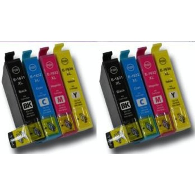 2x Huismerk Epson 16XL (TT1636) Multipack incl. Chip 8set