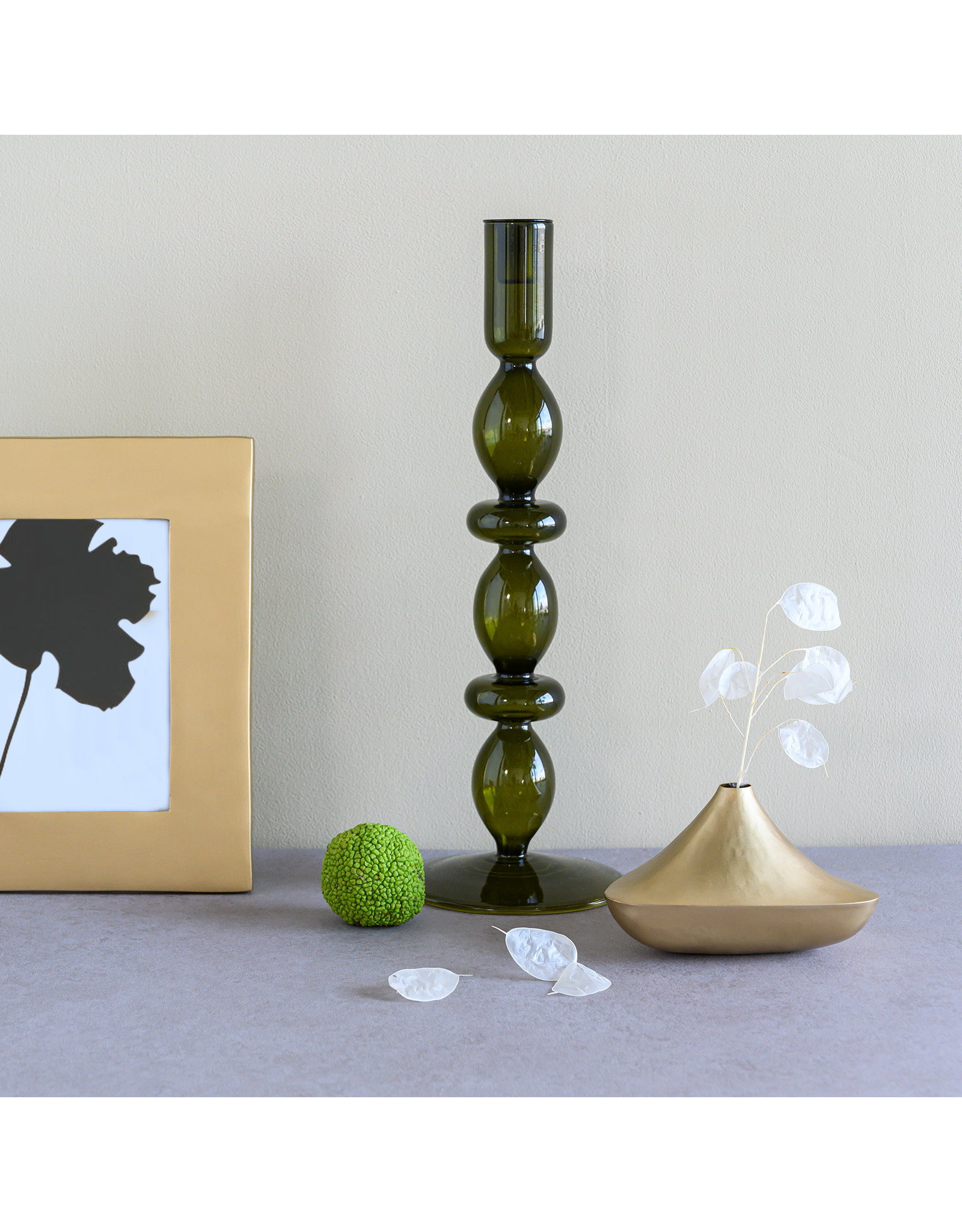 UNC Amsterdam Candle holder recycled glass Refined L, fir green