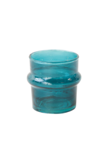 UNC Amsterdam Recycled handmade glass tea light holder teal 103709
