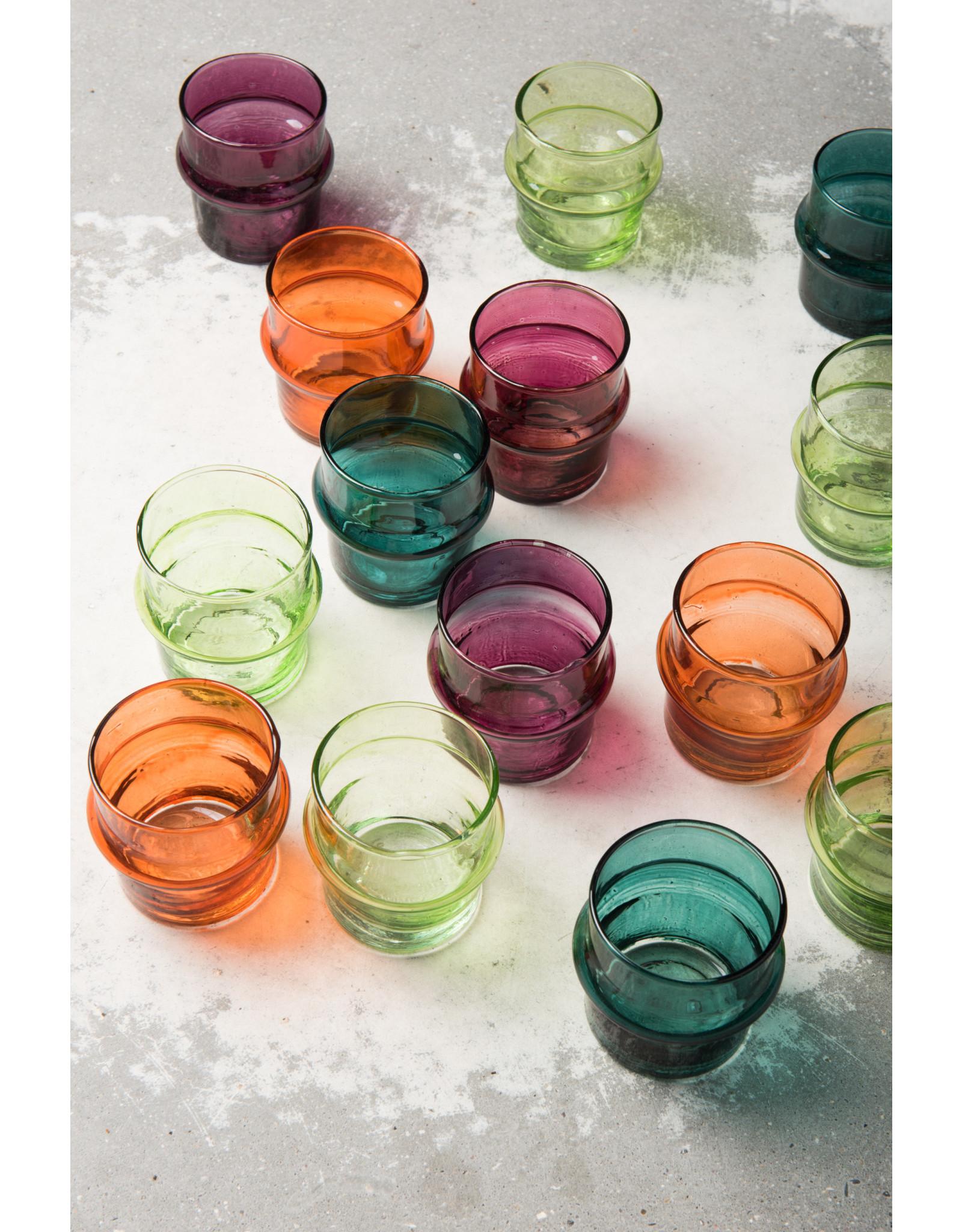 UNC Amsterdam Recycled handmade glass tea light holder teal 103709