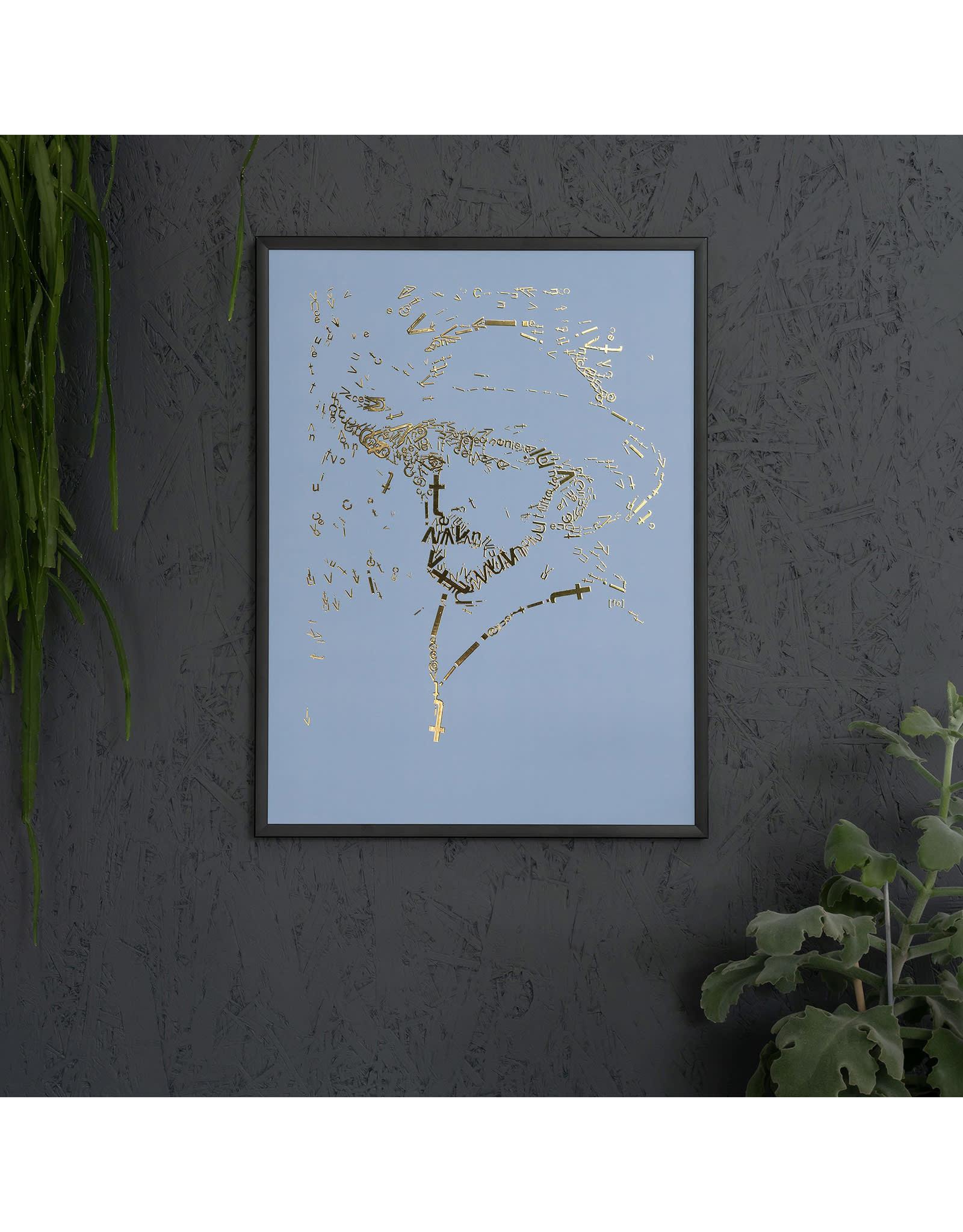 """""""Vincent type 2"""" Letterhead Gold Print colour Baby Blue (VIN2GOLD6)"""
