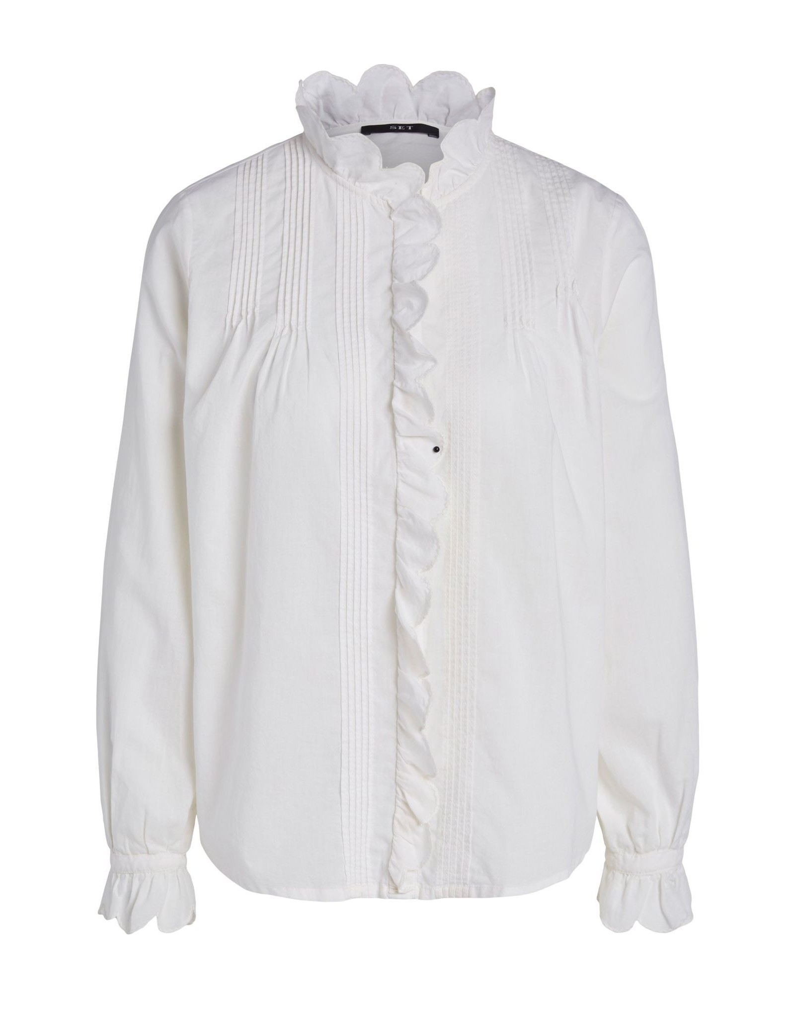 SET Lightweight cotton blouse with frill collar