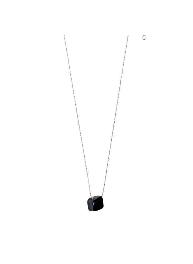 Black agate ketting zilver