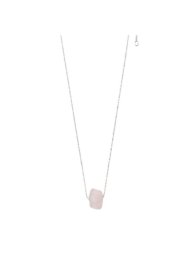 Rose Quartz ketting zilver