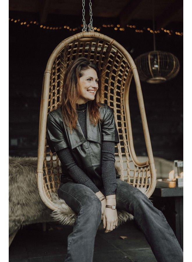 Just Female Laurene Leather Blouse Zwart