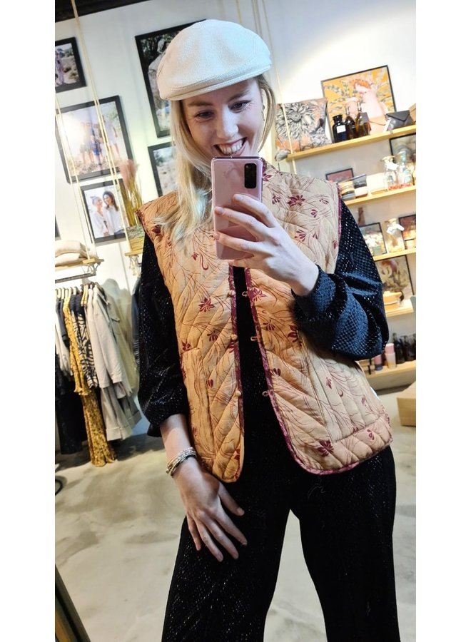 Sissel Edelbo Milla Quilted Silk Waistcoat nr. 51 maat M/L