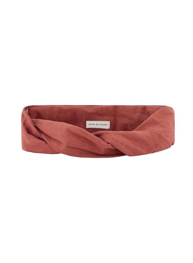Atelier Des Femmes Linnen Lotte Oranje/ Rood Haarband