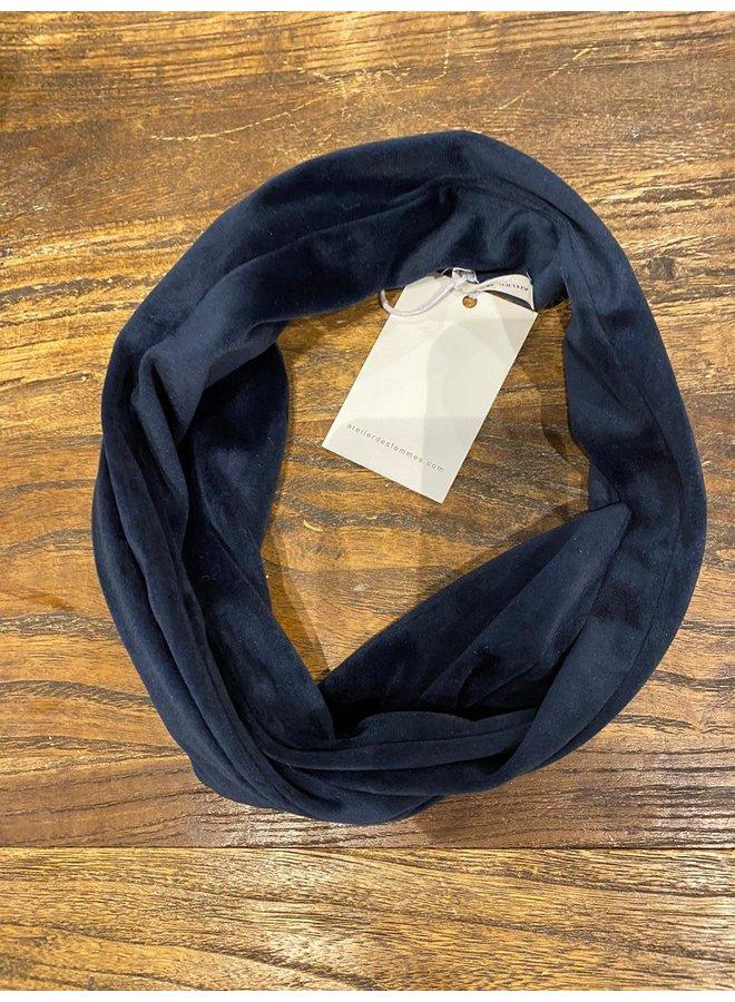 Atelier Des Femmes Velvet Donker Blauw Haarband