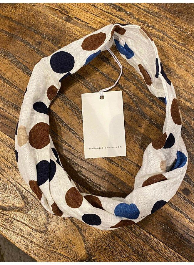 Atelier Des Femmes Linnen Stip Blauw Haarband