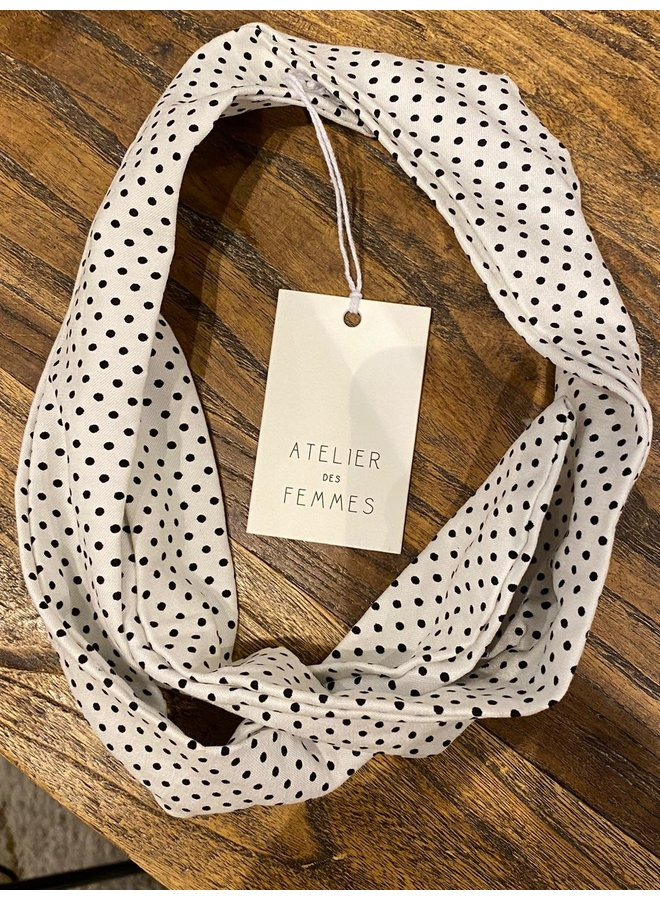 Atelier Des Femmes Wit Met Zwarte Stip Haarband