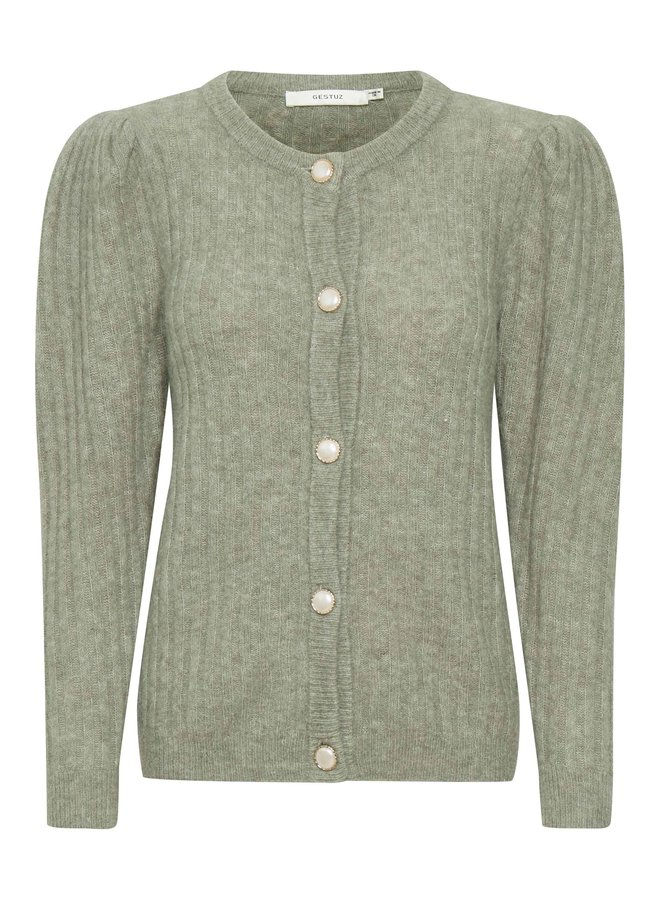 Gestuz Alpia Puff Cardigan Soft Green Mealng