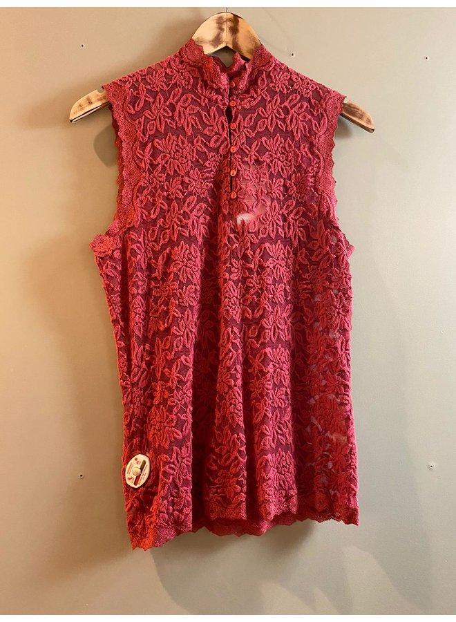 Rosemunde Kanten Top Mouwloos 5751 Scarlet Red