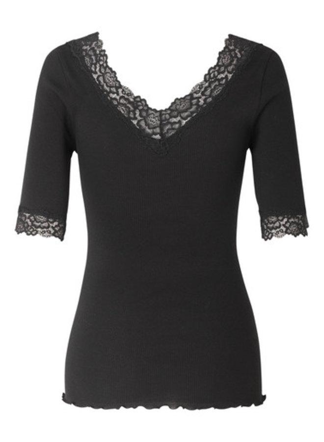 Rosemunde T-shirt V-neck 3/4 Lace Zwart