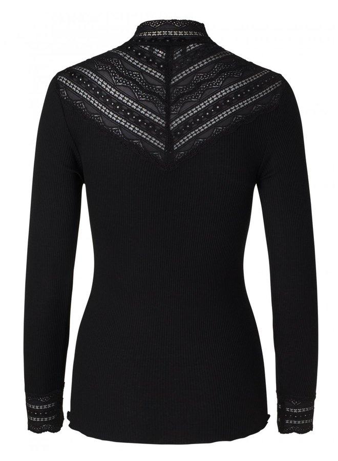 Rosemunde Silk T-Shirt Regular LS w/wide lace 5023 Hoge hals