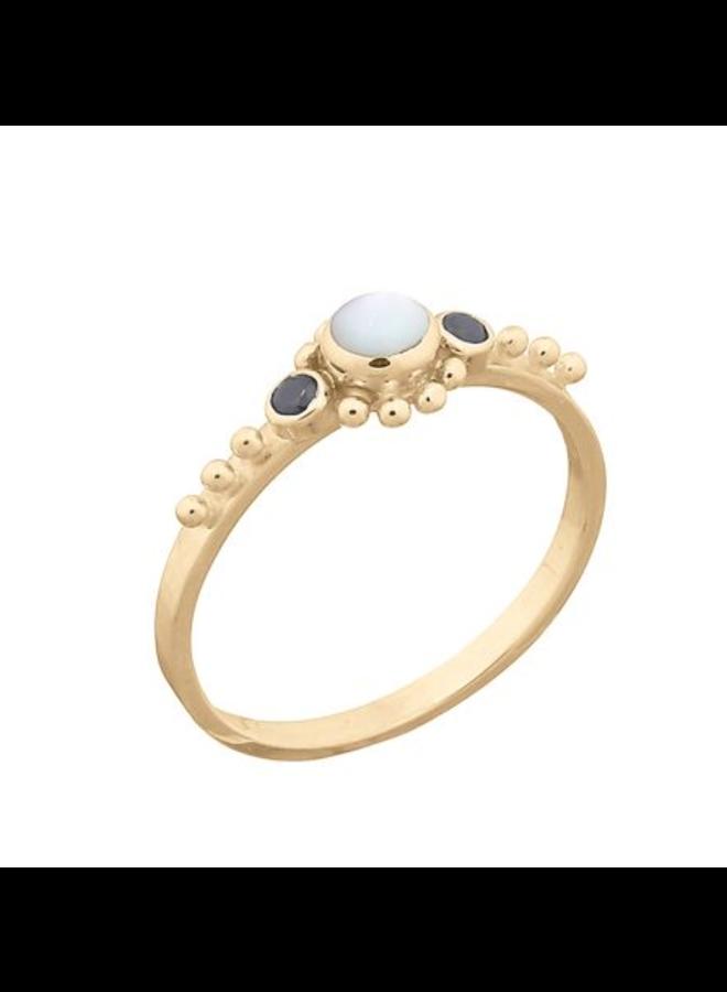 Miab ring goud - Black x Pearl